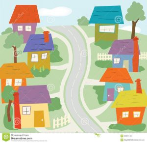 neighborhood-colorful-cartoon-scene-street-houses-landscape-fence-44011145